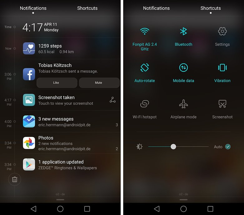 huawei p9 notifications quick settings