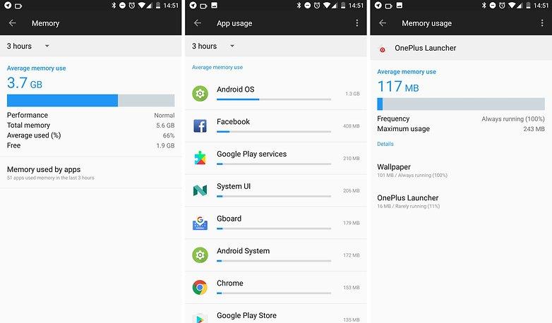 oneplus 5 app ram usage