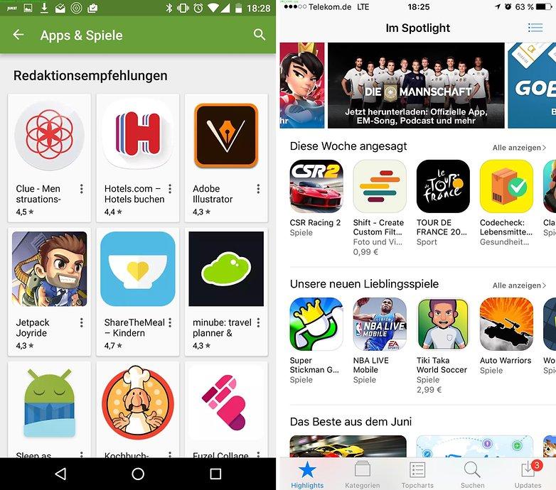 play store vs app store de