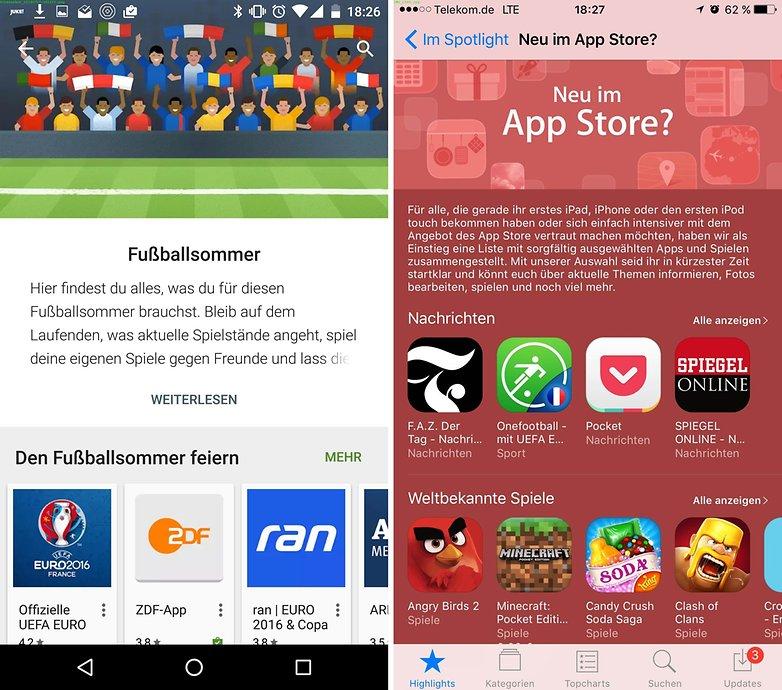 play store vs app store de 2