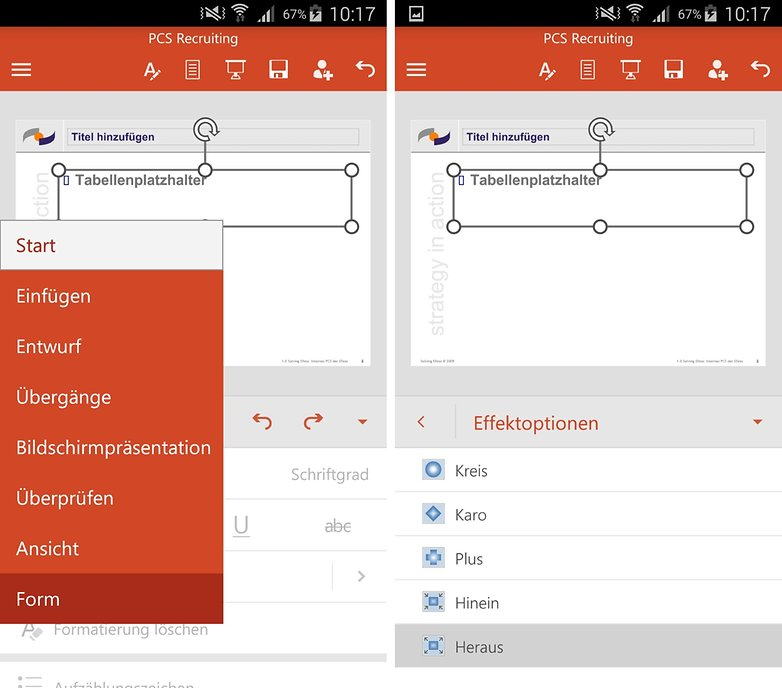 powerpoint for android menus animations de