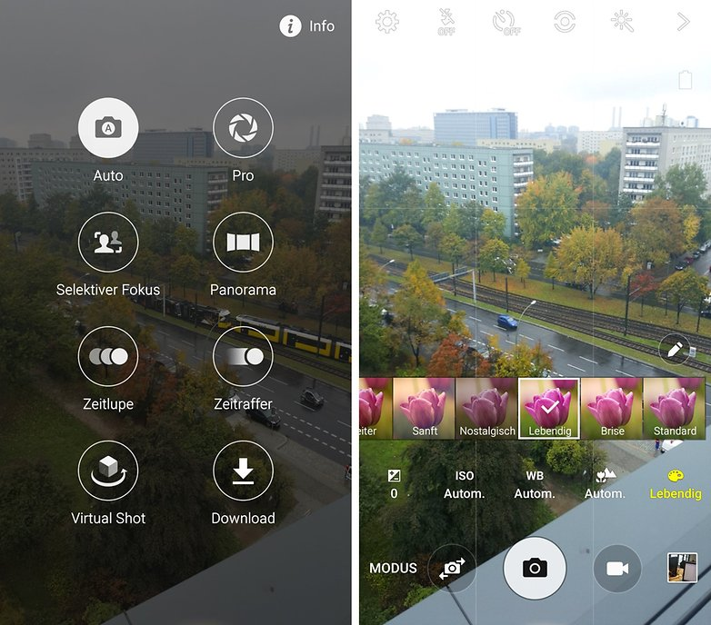 samdung Galaxy S6 camera interface per mode de
