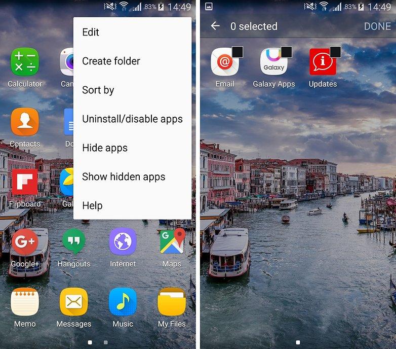 samsung galaxy s5 hide apps