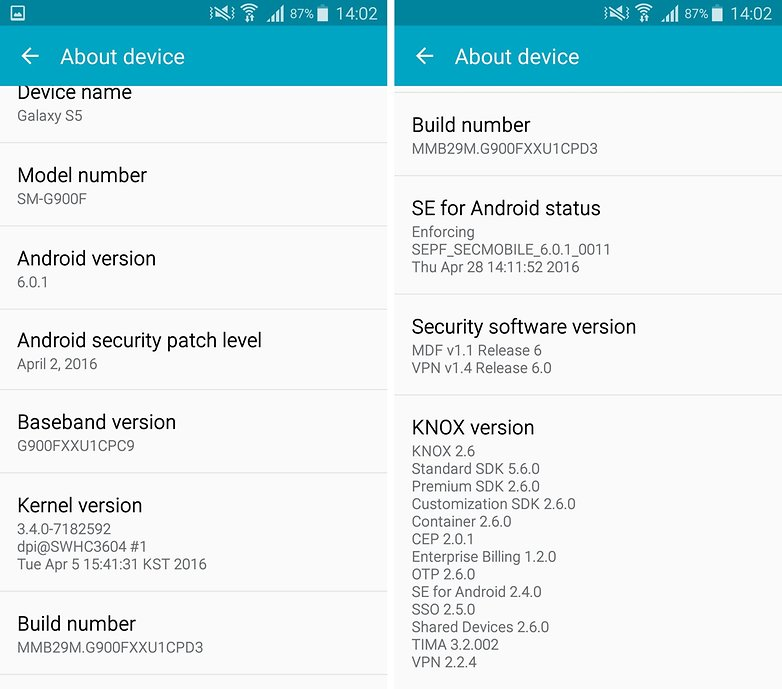 samsung galaxy s5 marshmallow build number