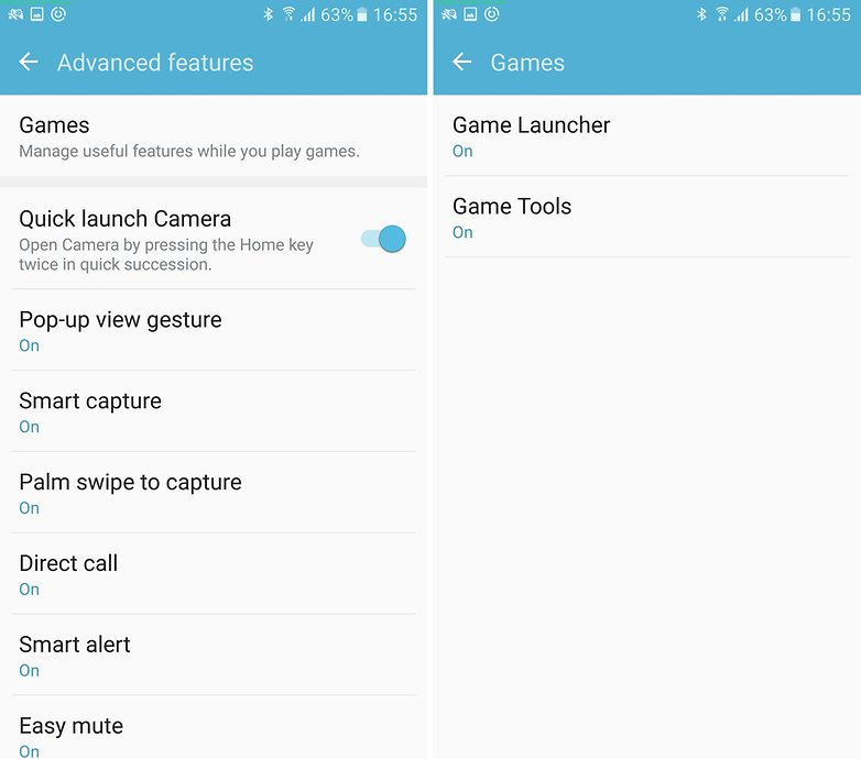 samsung game launcher settings