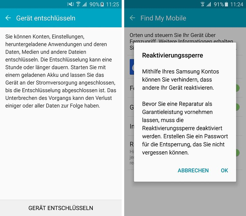 smartphone encryption reactivation lock de