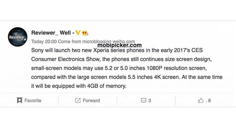 sony xpeira mwc 2017 leak specs