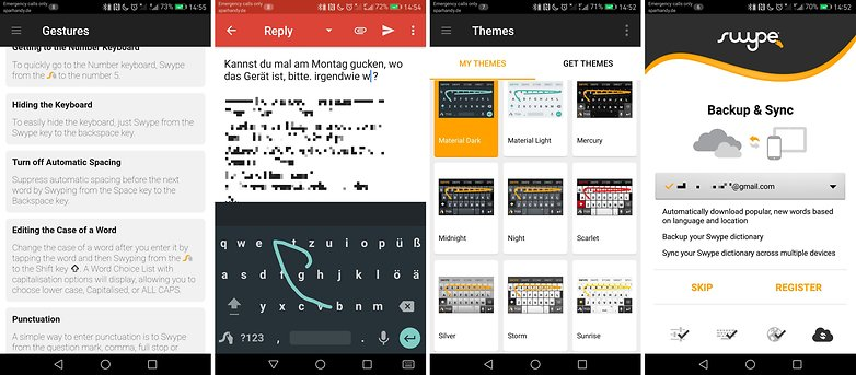 swype keyboard screens