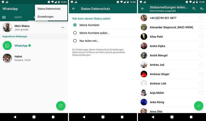 whatsapp status datenschutz de