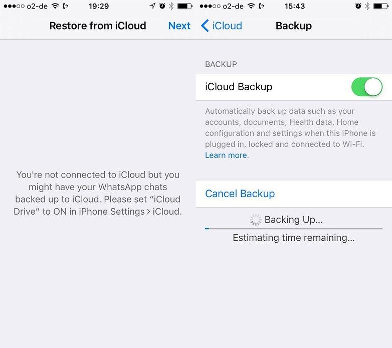 icloud ios backup whatsapp