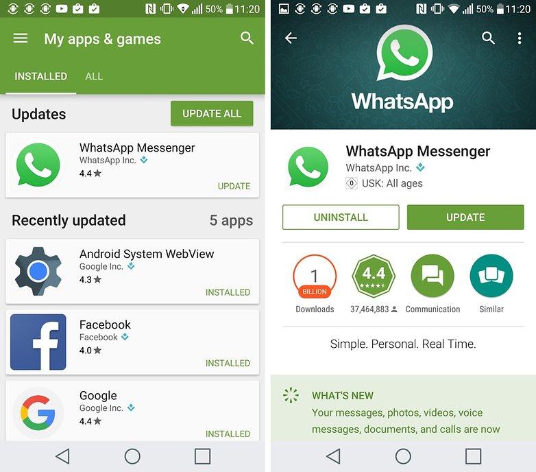 whatsapp update via play store