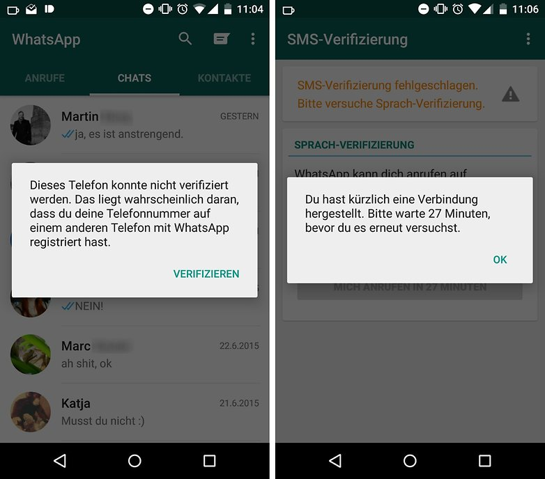 whatsapp verification error de