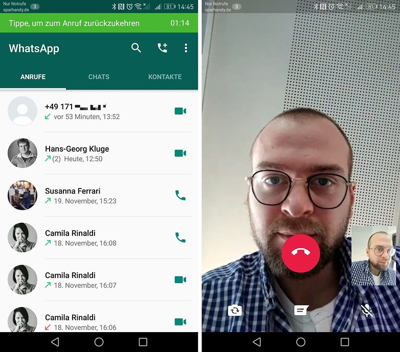 whatsapp video calls history