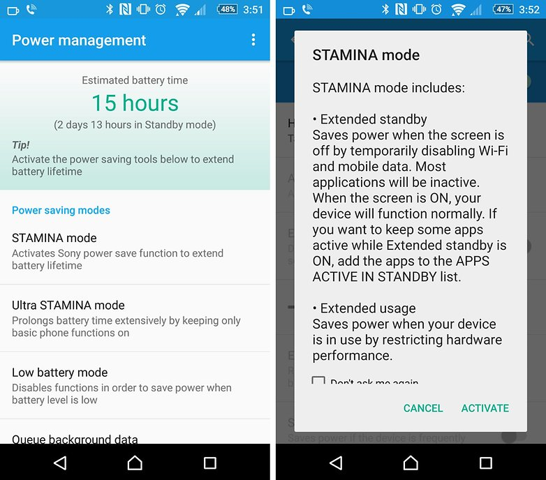 xperia z5 battery options