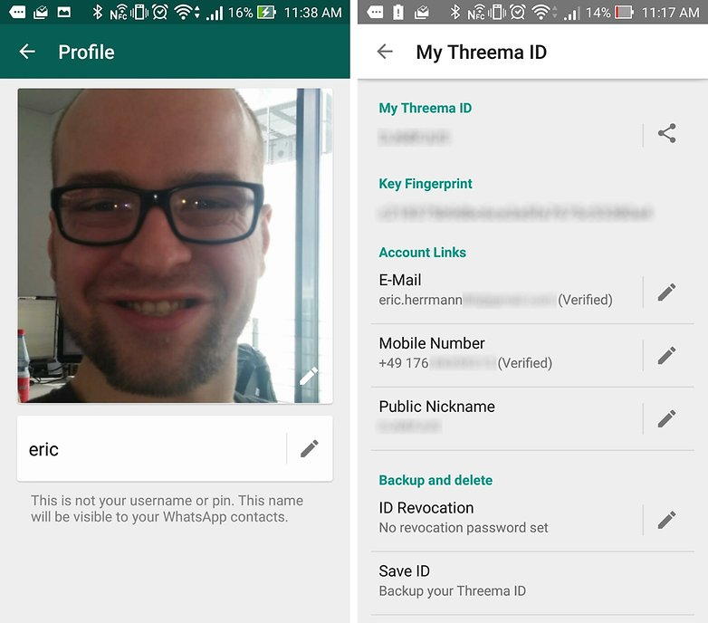 whatsapp vs threema personal info