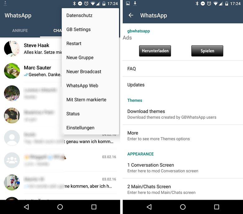 whatsapp plus gbwhatsapp menu