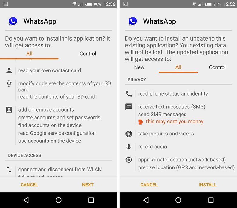 whatsapp plus gbwhatsapp permissions