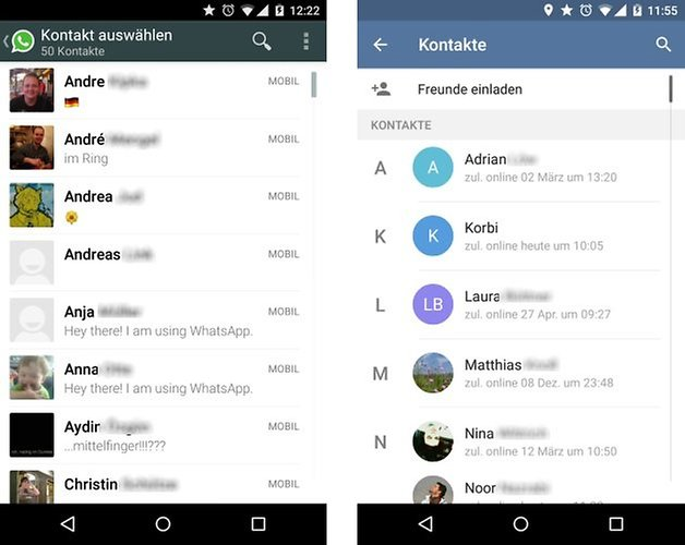 whatsapp telegram contacts de