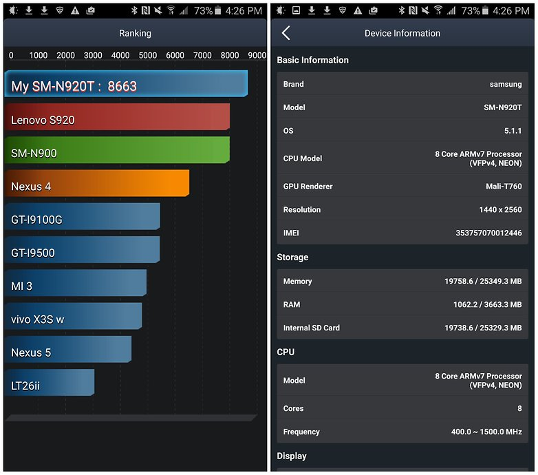 androidpit samsung galaxy note 5 antutu battery benchmarks
