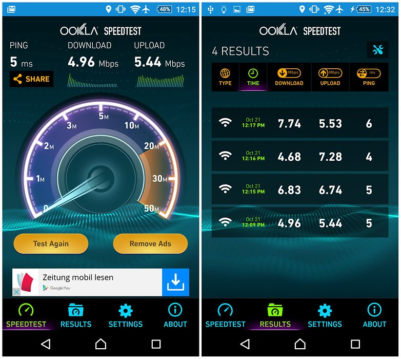 androidpit speedtest captura de pantalla 2