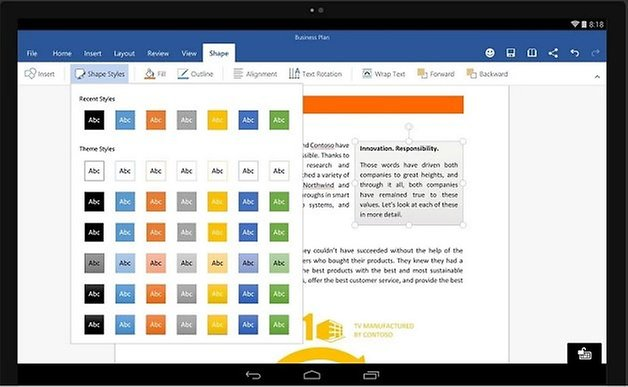 Microsoft Office (Word, Excel, PowerPoint) für Android-Tablets