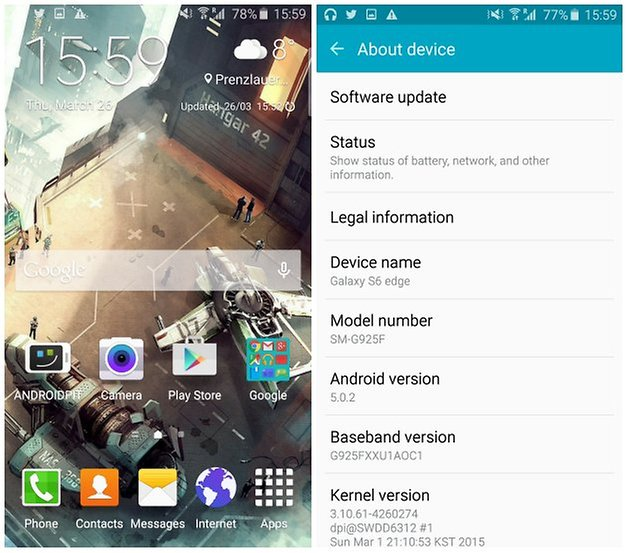 androidpit galaxy s6 edge about device