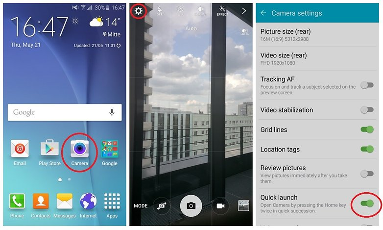 androidpit galaxy s6 how to quick launch camera