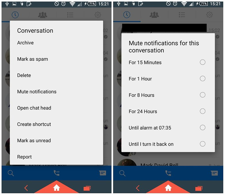 Facebook messenger tips and tricks from notifications to locations androidpit facebook messenger mute one ccuart Gallery