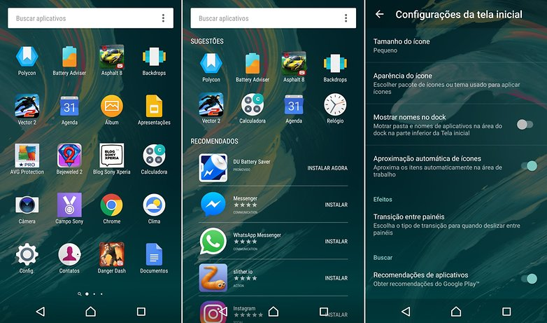 apps xperia x interface