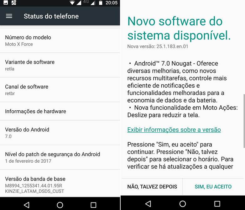 captura android nougat moto x force