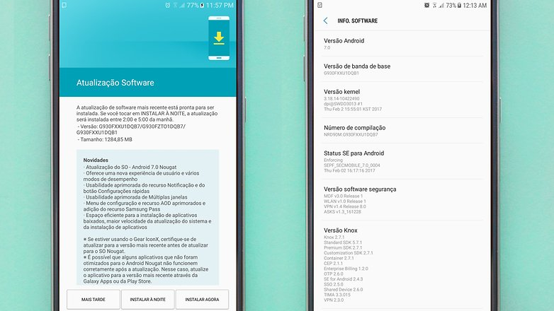galaxy s7 android nougat update brazil