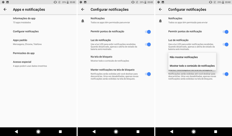 notificacoes configuracoes sistema