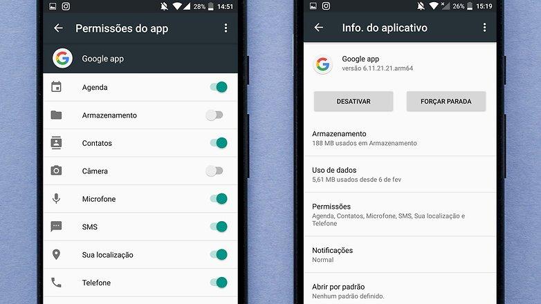 permissoes app google now voice