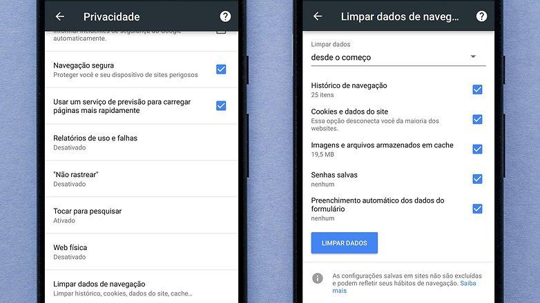 privacidade google chrome dados