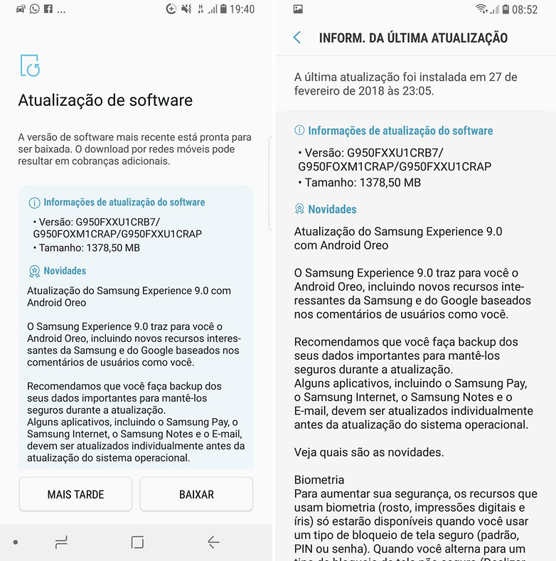 samsung s8 oreo final brazil update