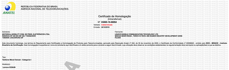 vibe k6 certificado anatel