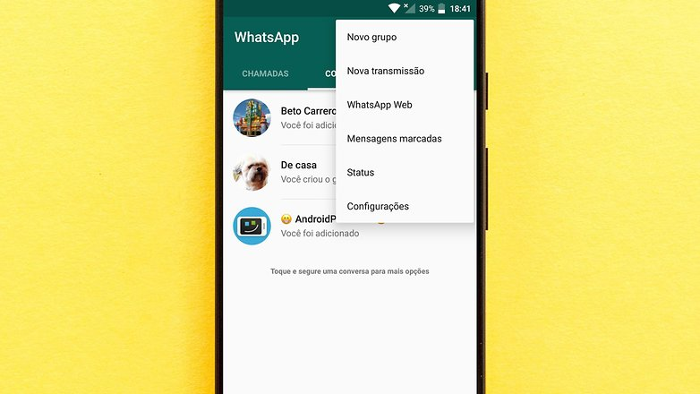 whatsapp inicio tela inicial