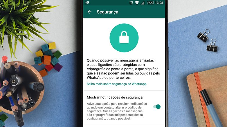 whatsapp seguranca notificacoes de seg