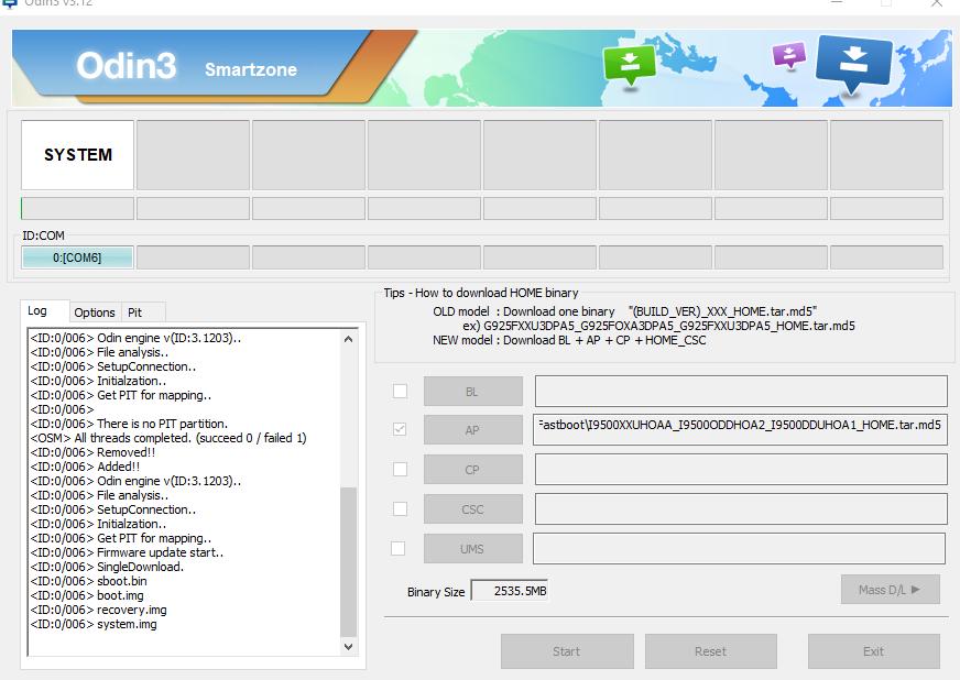 não consigo instalar firmware no j7