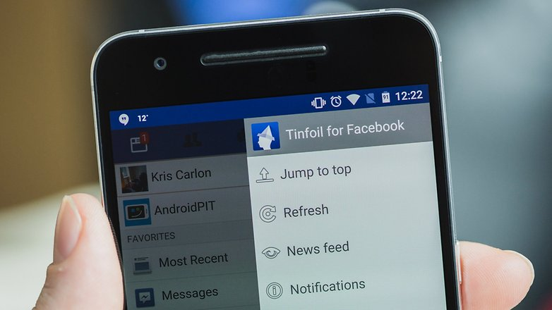 AndroidPIT Tinfoil for Facebook menu 1