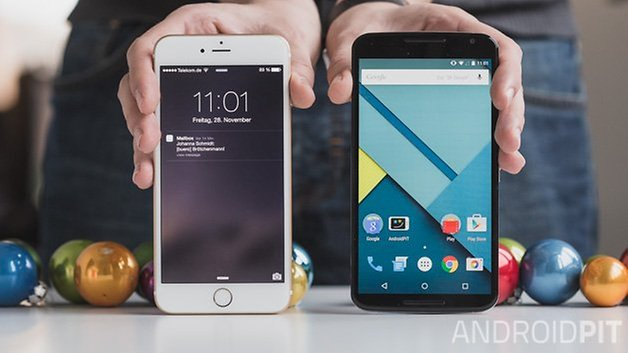 Nexus6 vs iPhone6 plus front