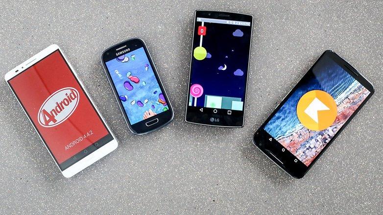 Android M Lollipop Kitkat jellybean 1 2