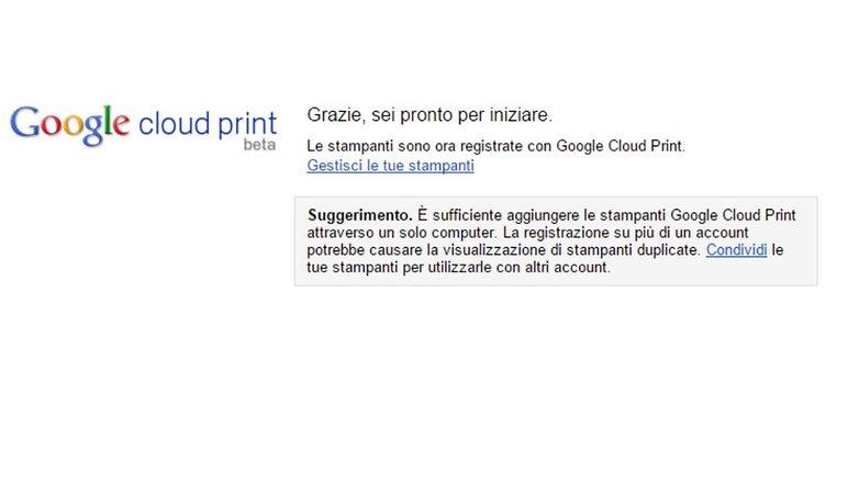 Google Cloud print confirmation