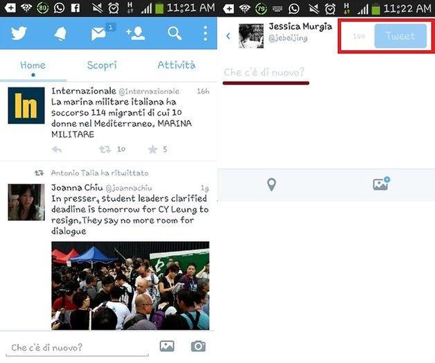 Twitter interfaccia
