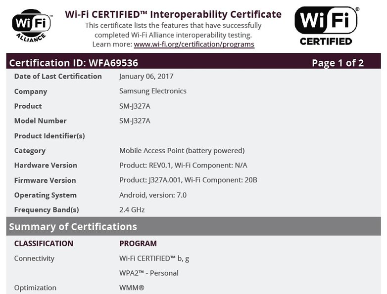 j3 2017 wifi certification