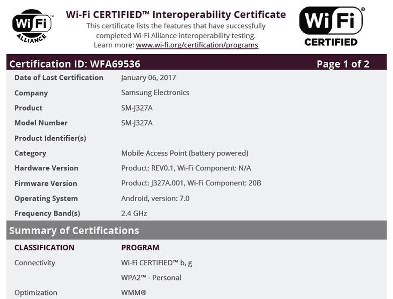 j3 2017 wifi certification