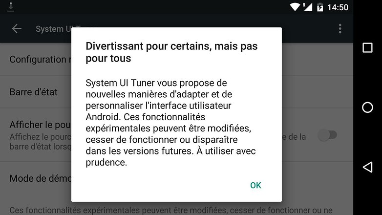 comment activer menu cache system ui tuner android message avertissement image 00