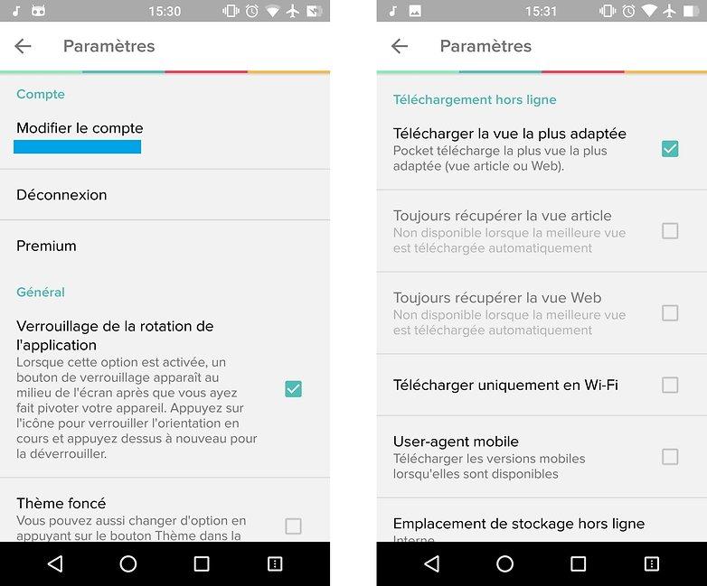 comment enregistrer pages web hors connexion android pocket parametres images 00
