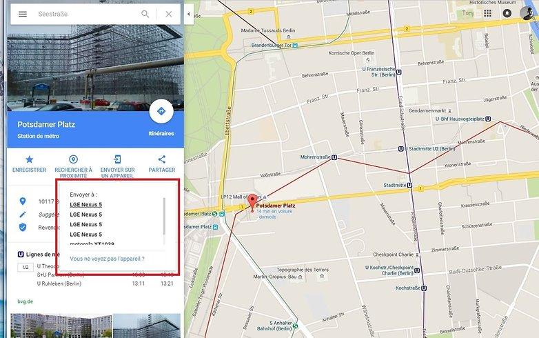 envoyer adresse google maps vers android envoyer sur appareil image 01