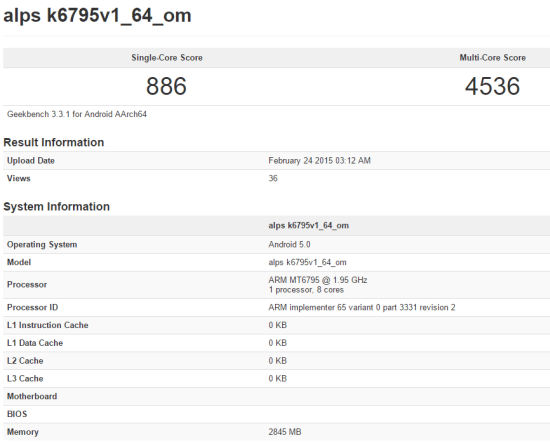 mediatek mt6795 geekbench